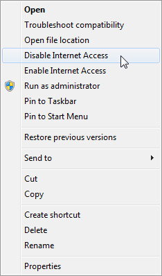 Disable internet connection from context menu