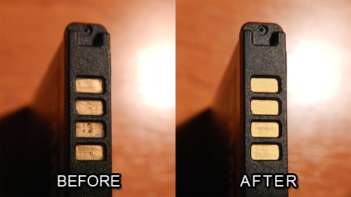 Phone Battery Contacts Cleaning