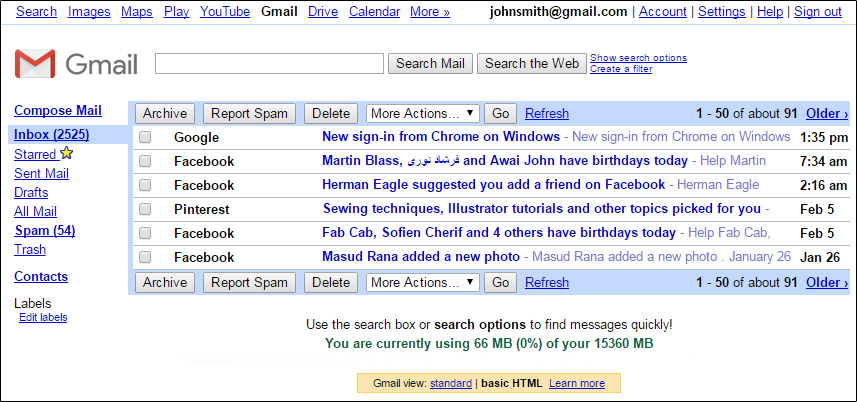Preview of Gmail Basic Html View